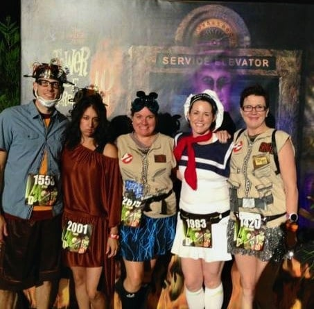 Ghostbusters at Tower of Terror 10-Miler runDisney race. Tania Lamb, a Northern Virginia Mom Blogger, loves to dress in costume for races!