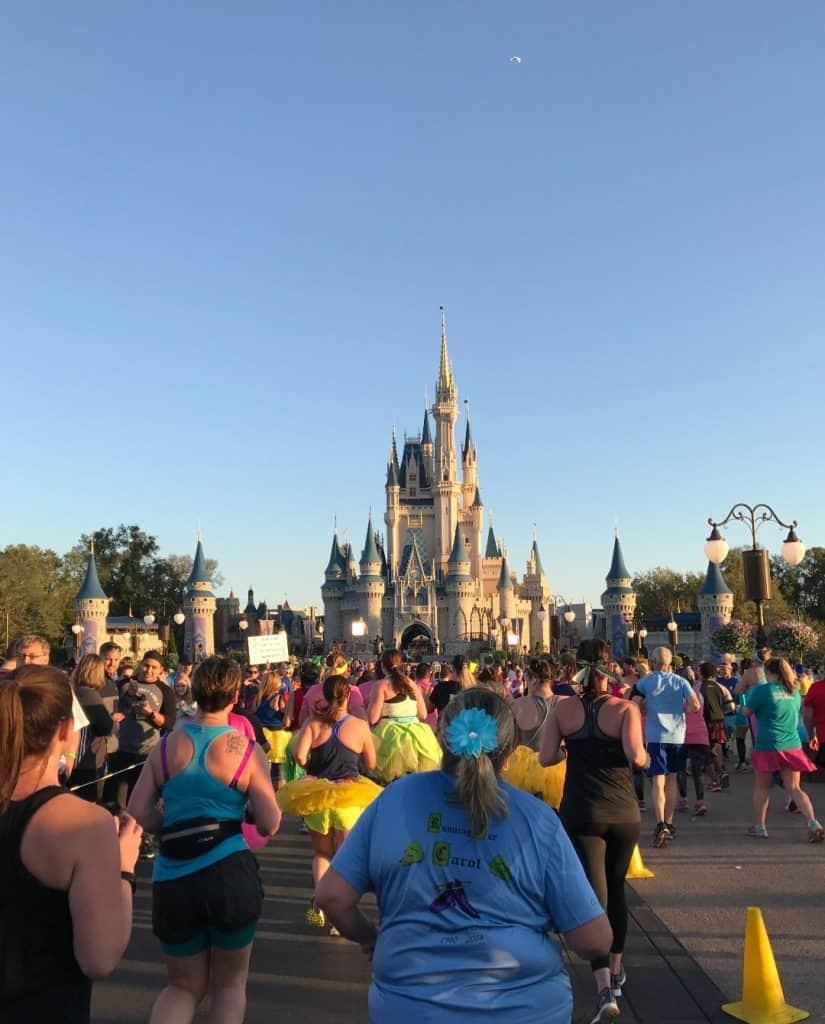 It can get crowded at Cinderella Castle during Princess Half Marathon Weekend