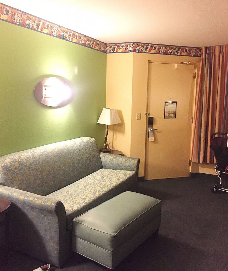 The sitting area of the All-Star Music Disney World Family Suite