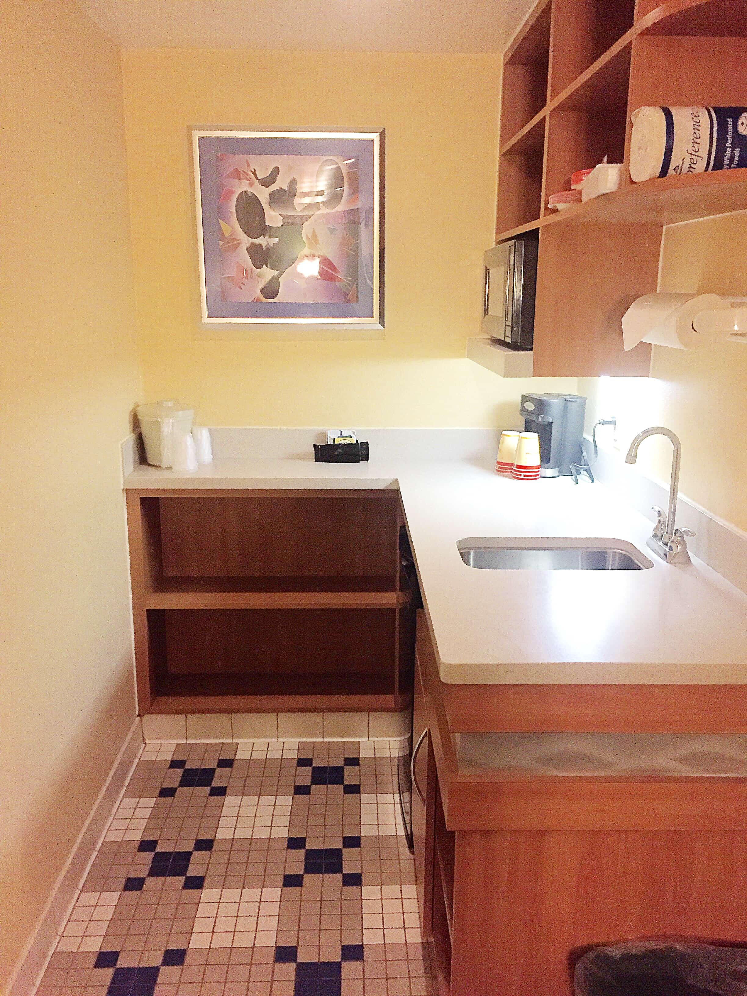 The kitchenette in an All-Star Music Disney World Family Suite