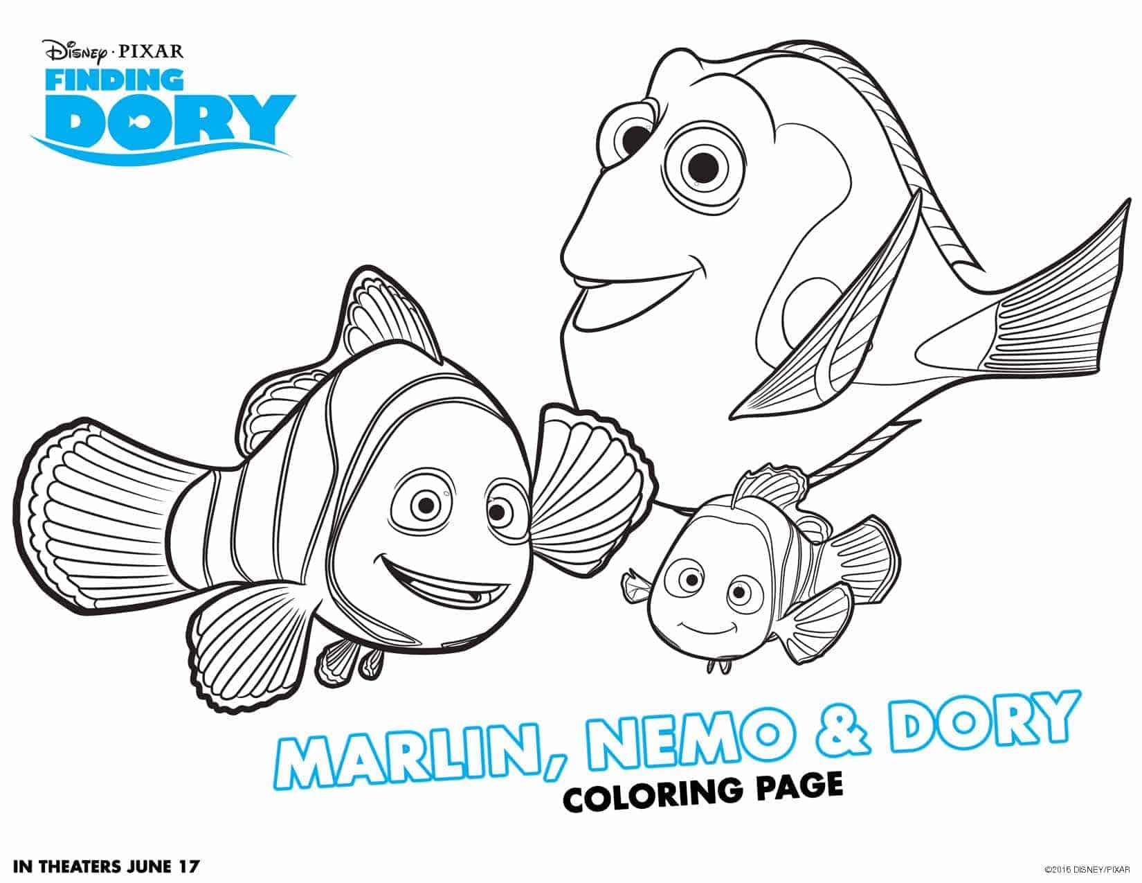 Finding Dory Coloring Pages and Activity Sheets - Lola Lambchops