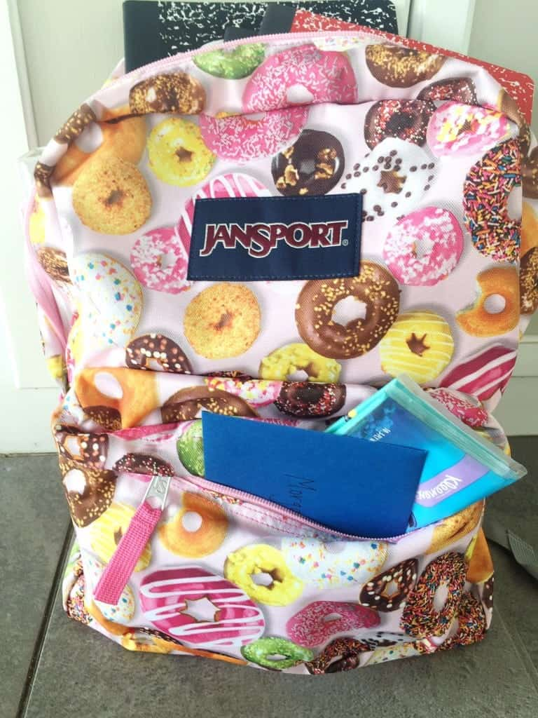 Back to school with new backpacks and Kleenex.
