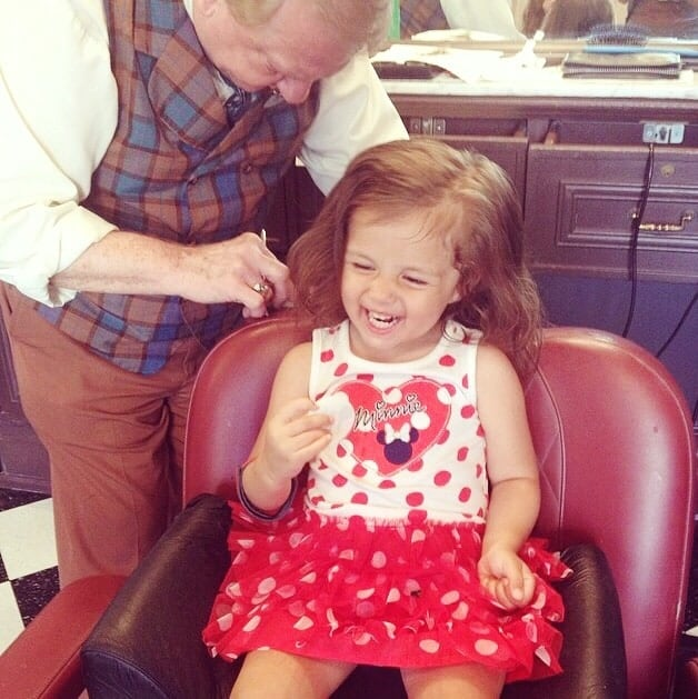 First Disney haircut at Harmony Barbershop