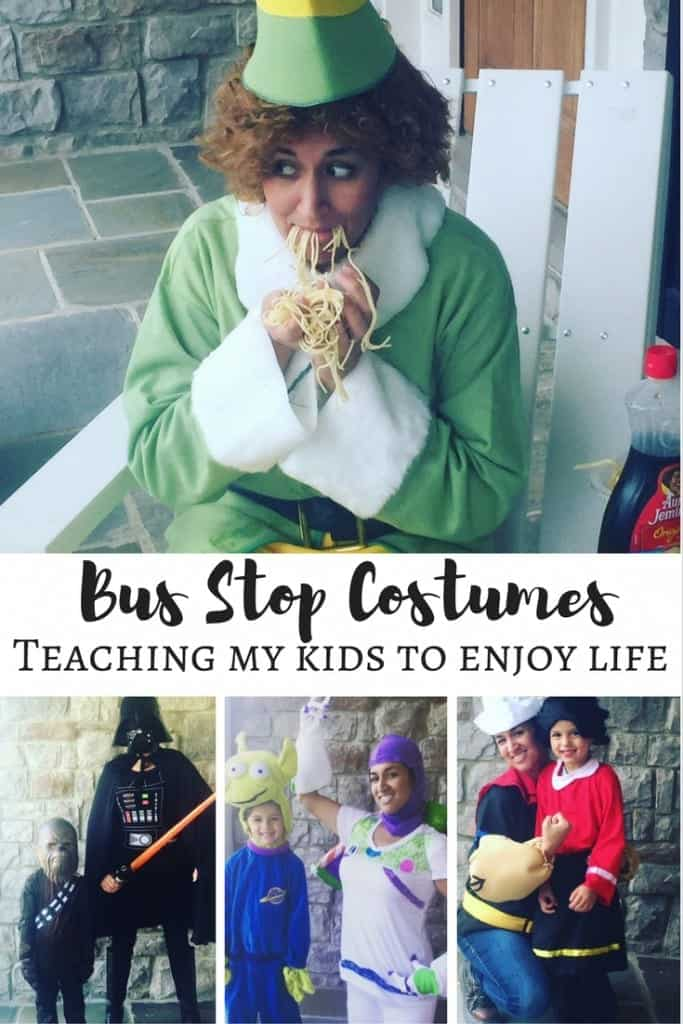 Bus Stop Costumes started as an October and Halloween tradition. I dress up every day in October in costume to pick my kids up from the bus stop to teach them to enjoy life and to be silly. Parenting at its finest.