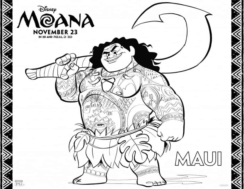 Página para colorear de Maui de la película MOANA, Coloring Sheet for Moana's Maui
