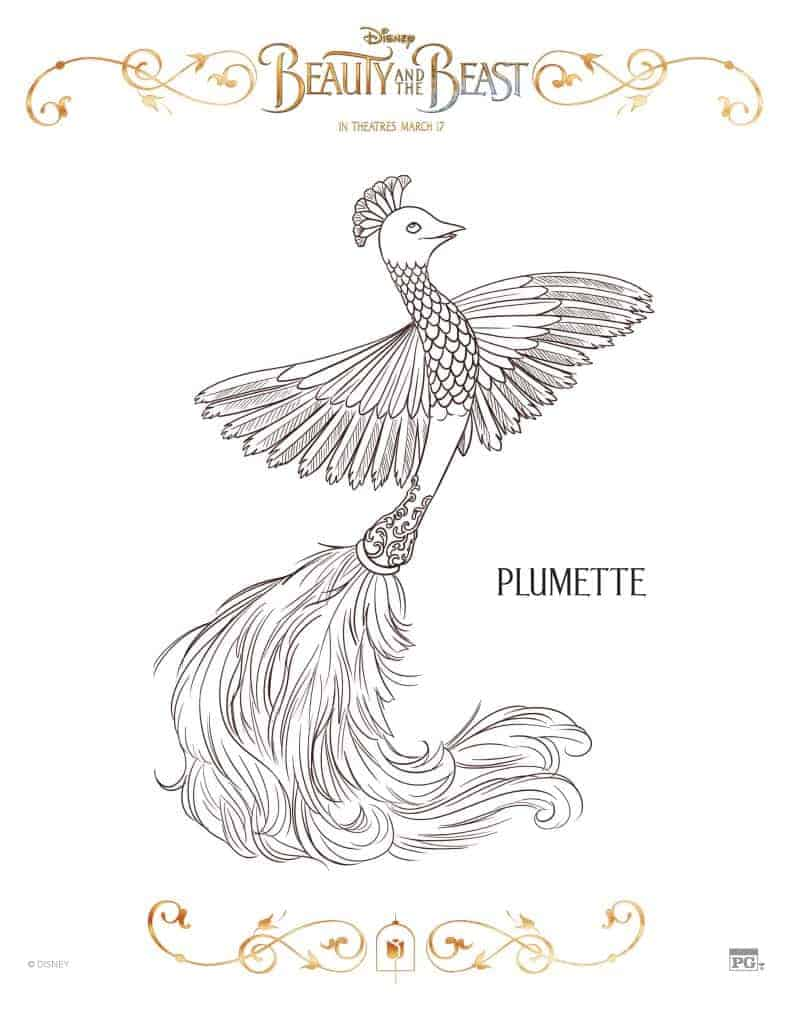 Beauty and the Beast Coloring Pages - Plumette, Beauty and the Beast opens in theaters March 17.