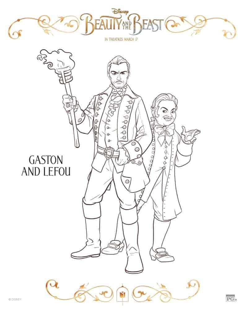 Gaston and Lefou Beauty and the Beast coloring pages
