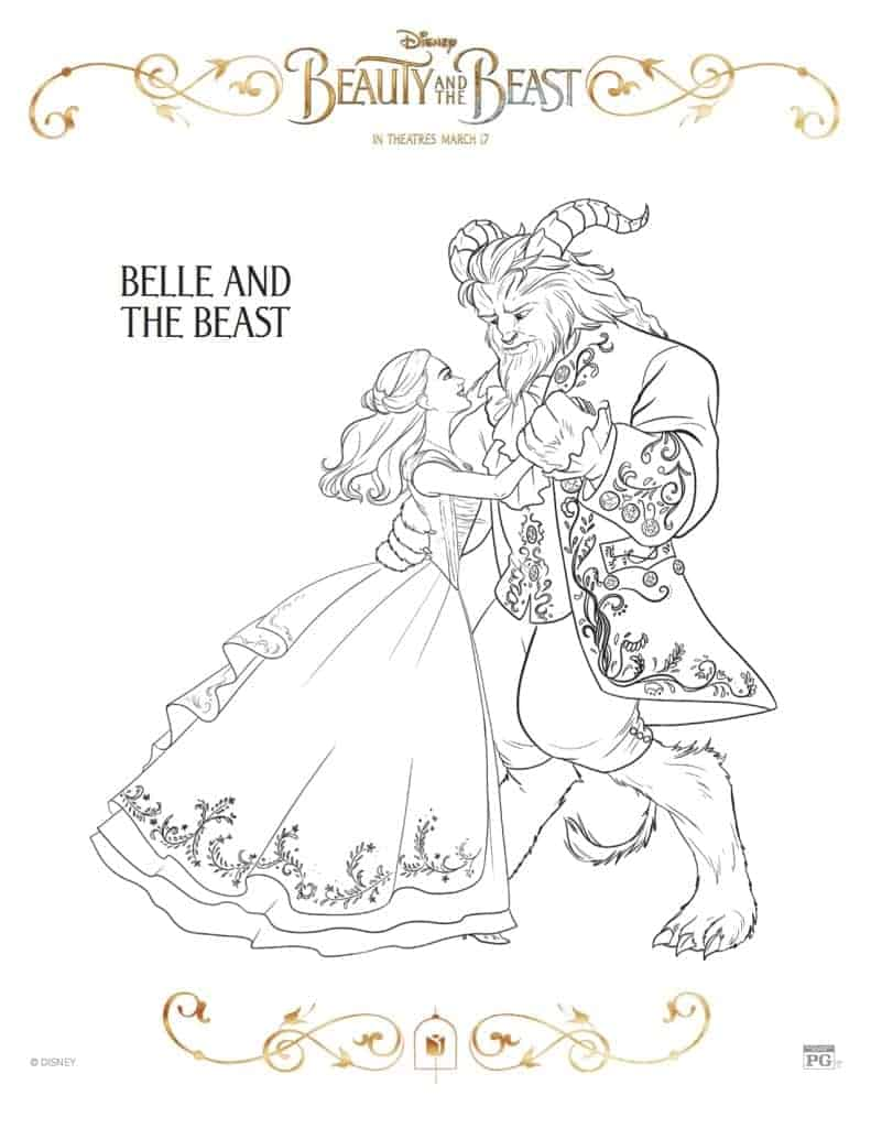Beauty and the Beast Coloring Page - Belle and the Beast