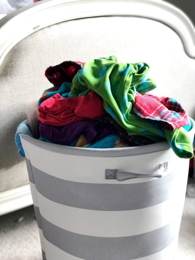 If you're going to teach kids to do laundry, make sure they have a hamper or some place they can throw their dirty clothes.