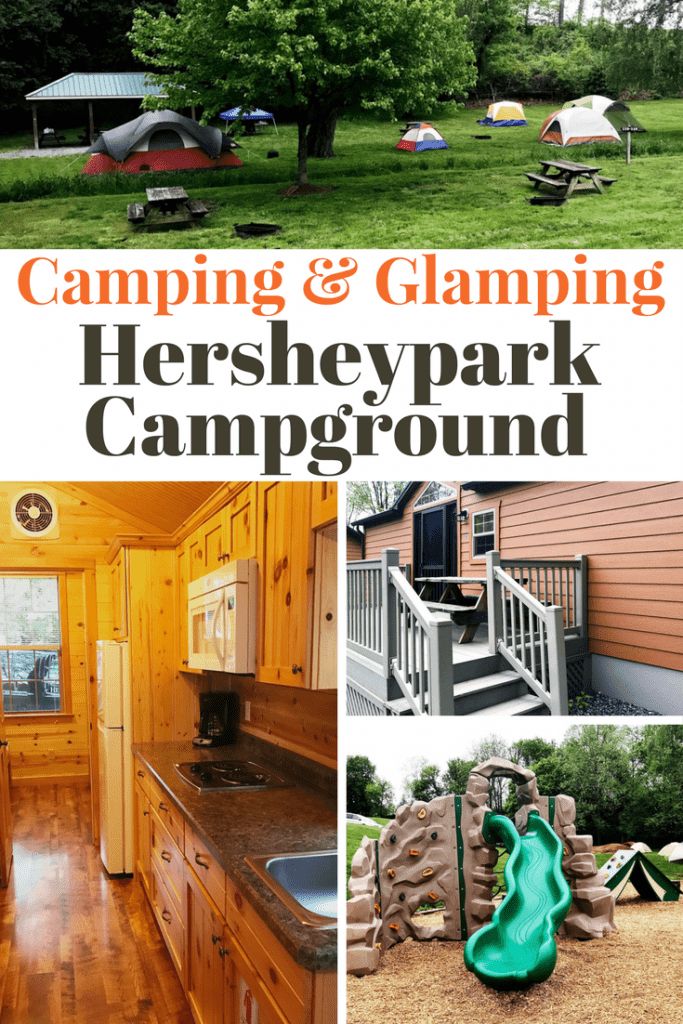 If you're visiting Hersheypark on a budget, try the Hersheypark Camping Resort! You can camp in a tent or an RV or go glamping in a deluxe cabin with indoor plumbing! Perfect for kids and large families on a budget. Have a staycation adventure for those that live close to Hershey, PA. Hershey Park campground is one of the 3 resorts Hershey has to offer on property besides Hershey Lodge and The Hotel Hershey.