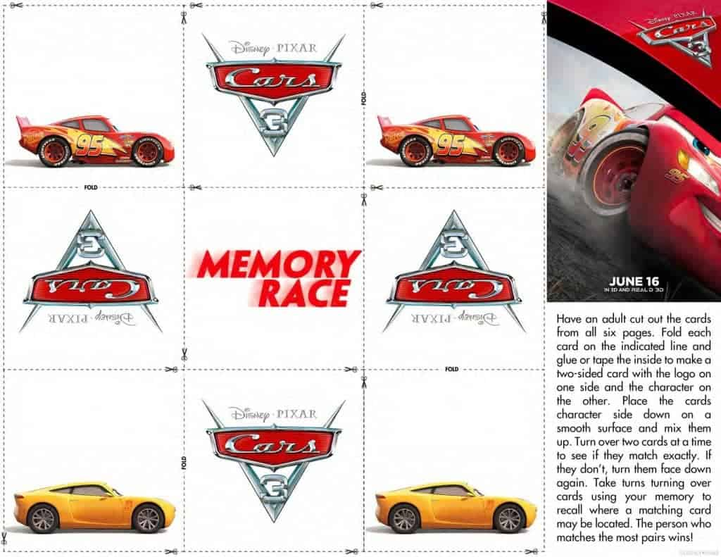 Download a free Cars 3 Memory Game racing fans!