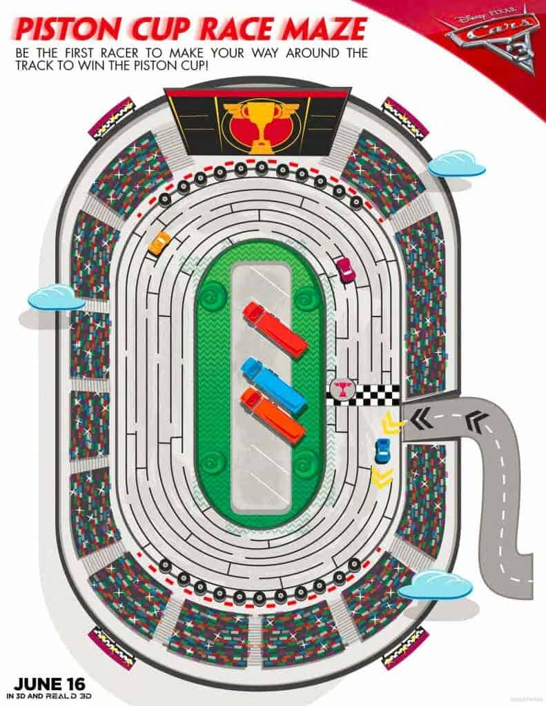 Check out the free Cars 3 Games that includes a Piston Cup Race Maze where you try to cross that finish line!