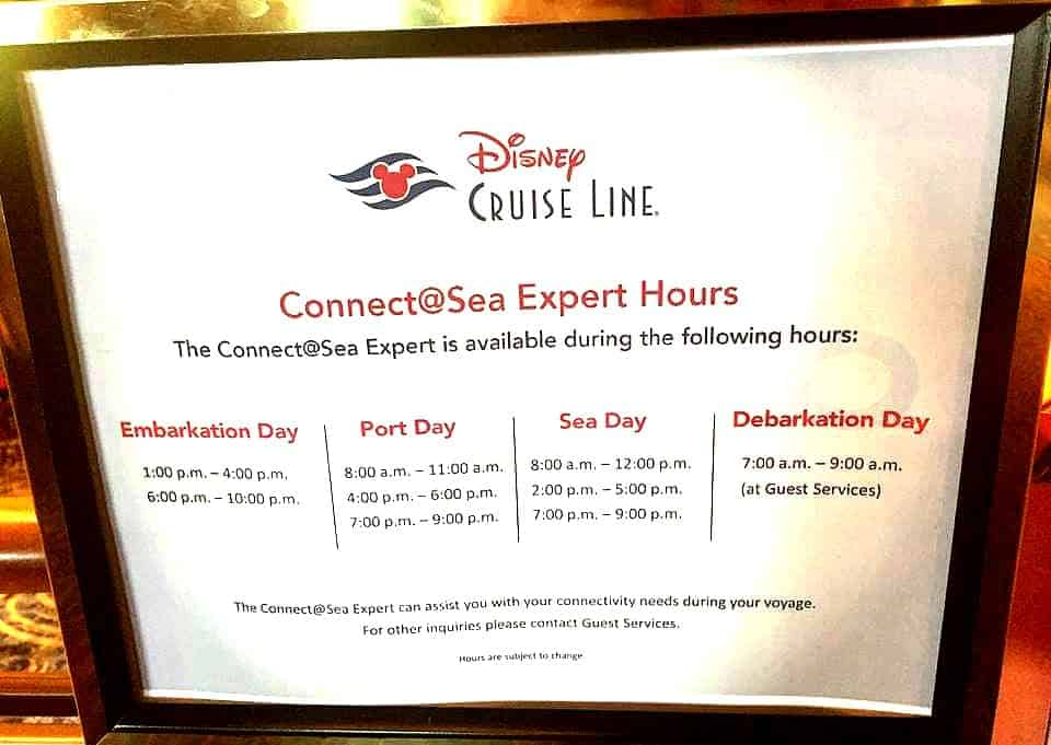 Get expert help connecting to Disney Cruise WiFi on board your ship with the Connect@Sea Expert desk. Here are their hours!