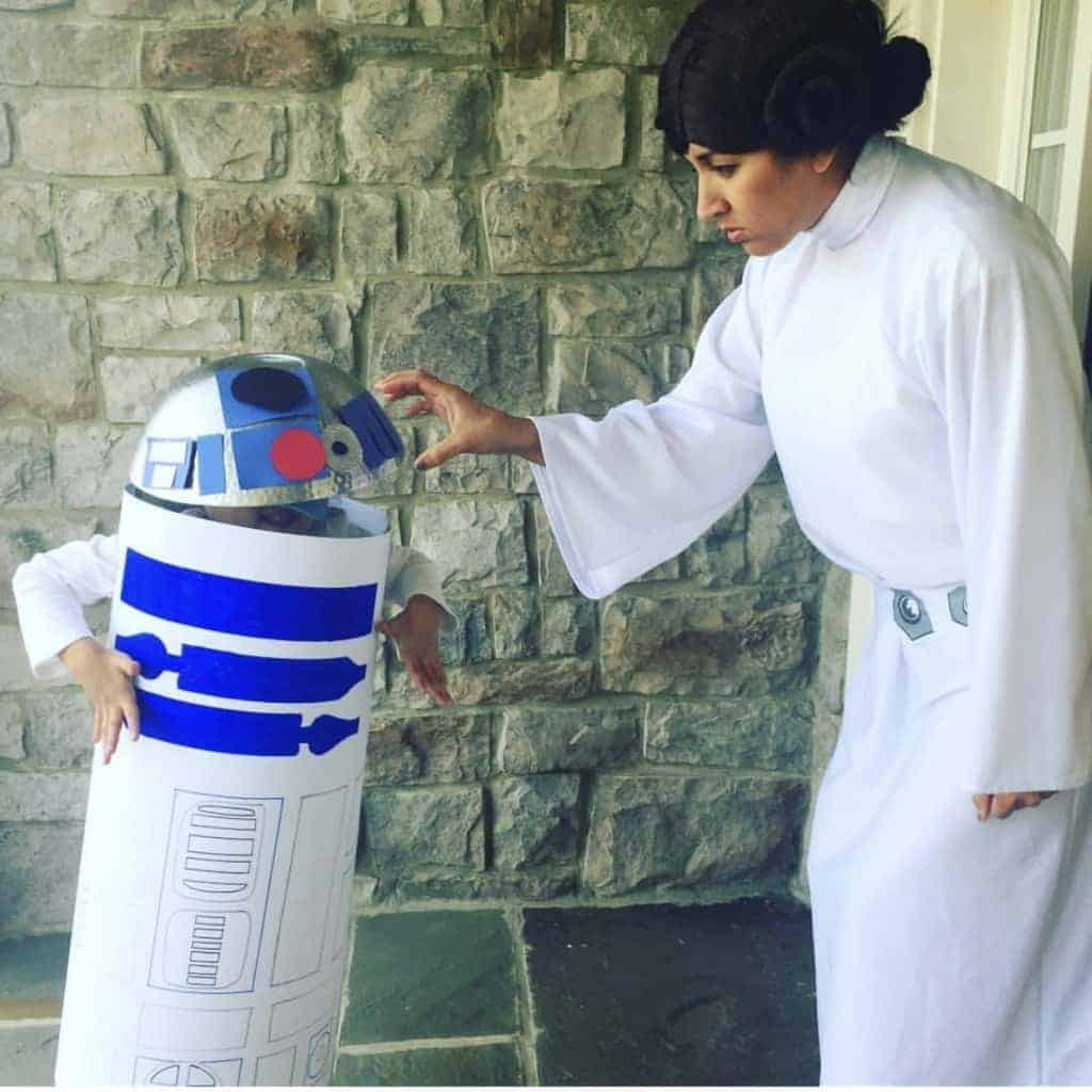 Princess Leia and DIY R2D2 Halloween Costume