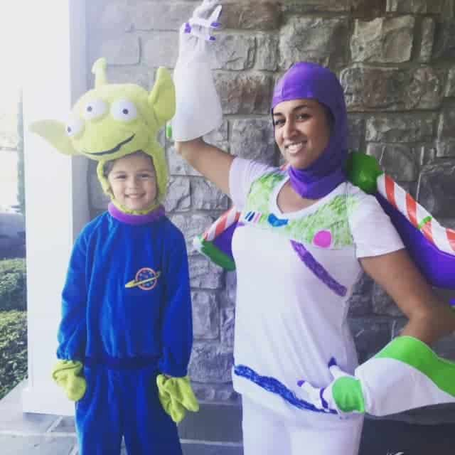 An easy Halloween costume for moms - Buzz Lightyear and a Toy Story Alien!
