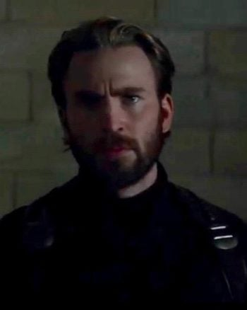 Bearded Captain America comes out of the shadows in Avengers: Infinity War.