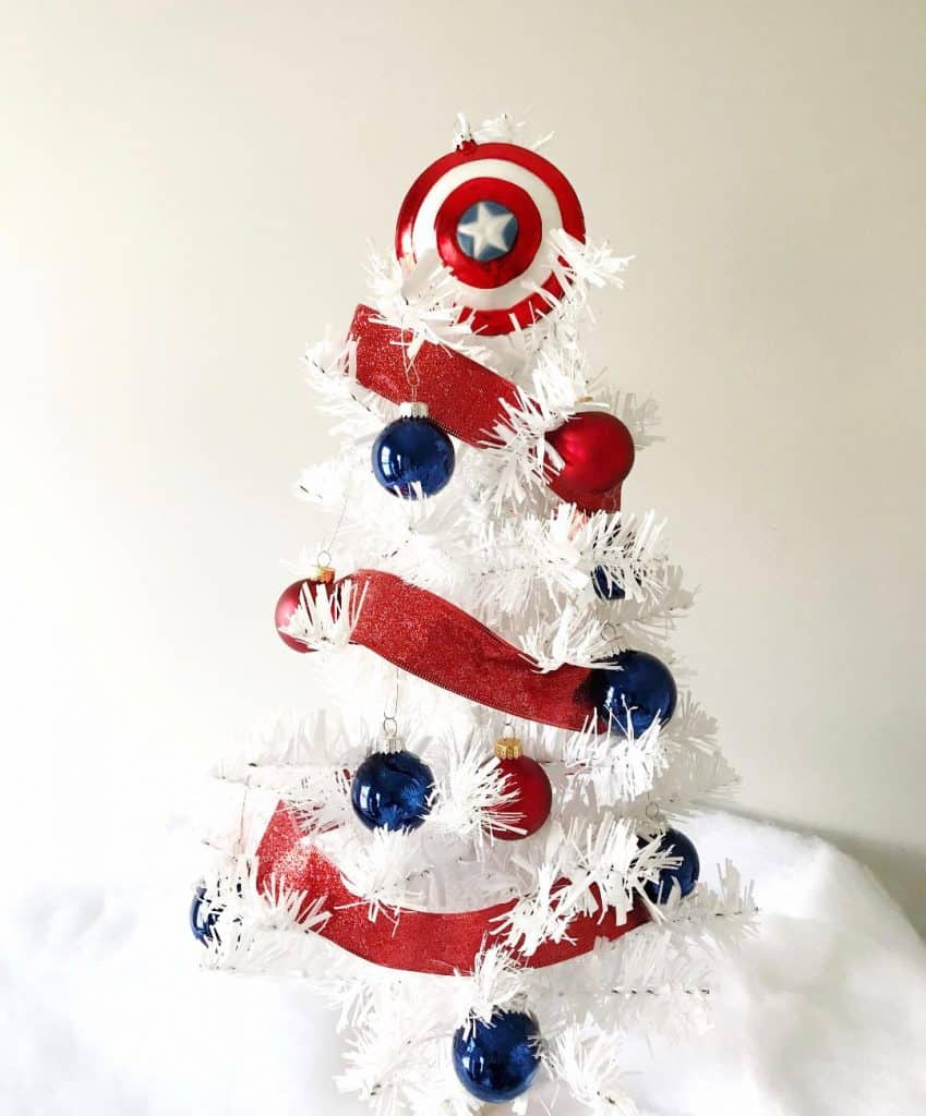Looking for Marvel Christmas trees? Make your own Captain America Christmas tree with a few simple supplies.
