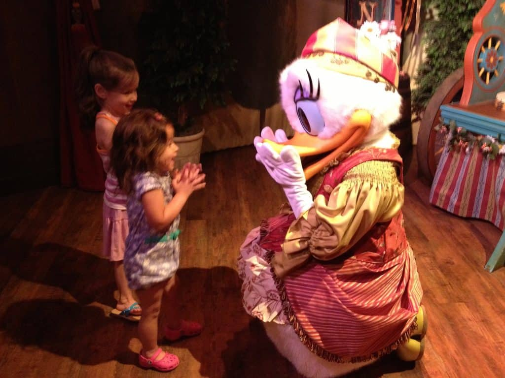Best Tips for Disney World with Toddlers - Meet Daisy Duck at Storybook Circus