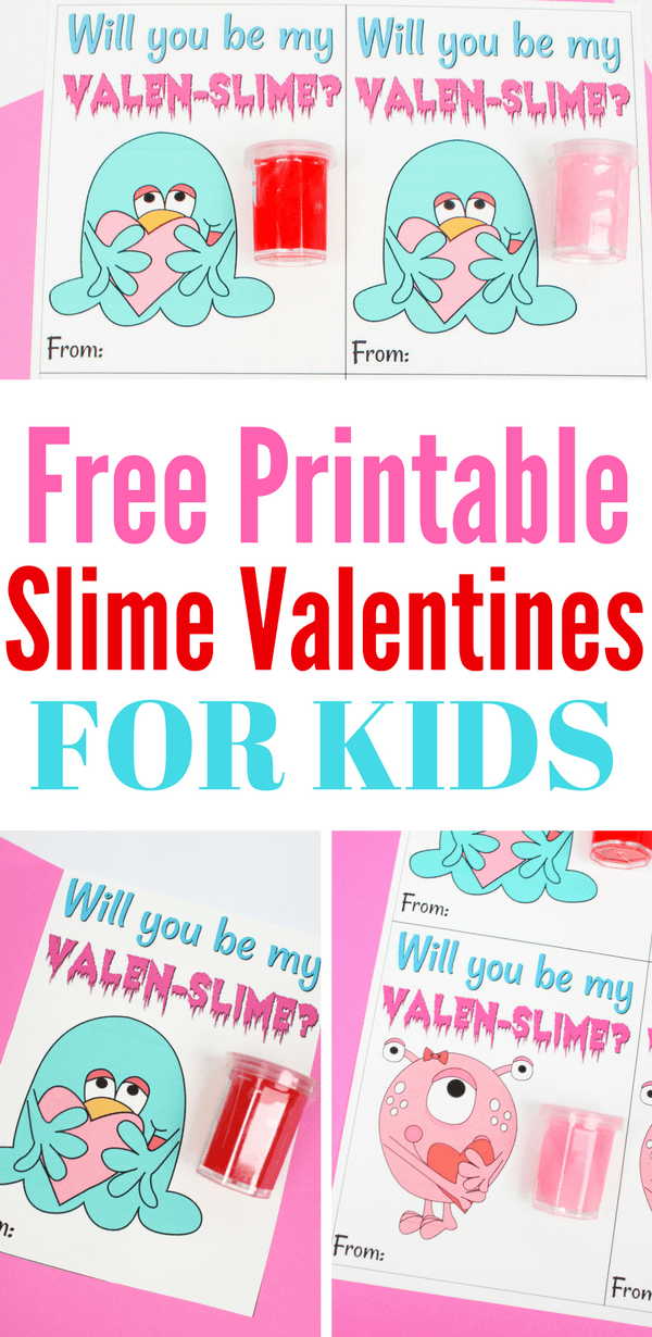 If you need non-candy or non-food Valentines, here are free printable Slime Valentines for kids! Also is a DIY slime recipe that makes this an easy, fun kid craft project, too, for Valentine's Day parties!