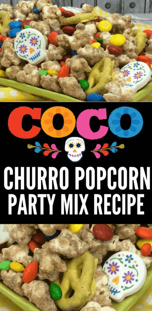 Remember Me with this Pixar COCO Party Churro Popcorn Recipe. A great party idea for your next Coco Party or Coco Movie Night!