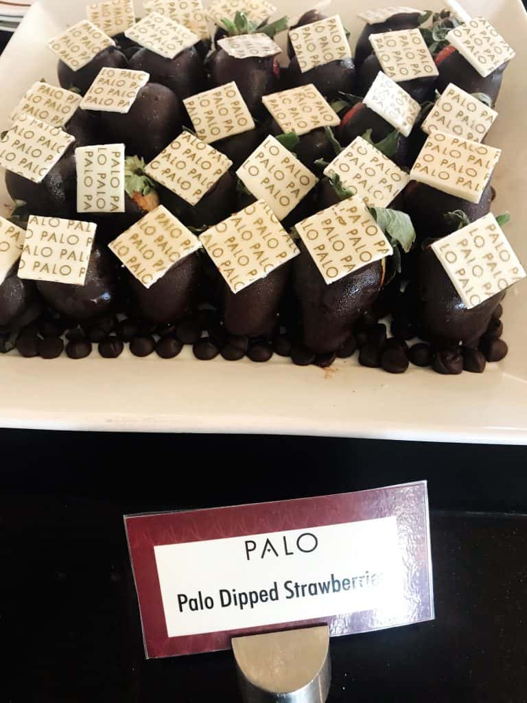 Find chocolate covered strawberries at Palo brunch!