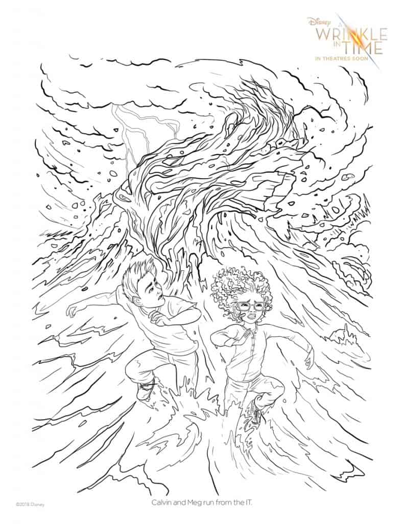 Calvin and Meg run from the IT in this free A Wrinkle in Time Coloring Page.