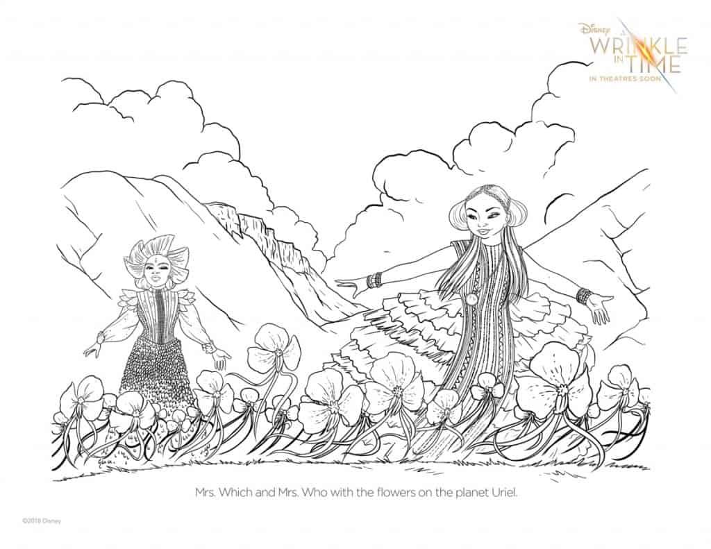Mrs. Who and Mrs. Which coloring page from A Wrinkle in Time.