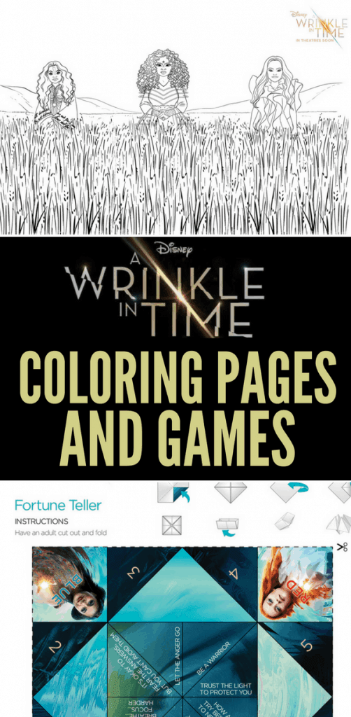 Print your free A Wrinkle in Time Games and Coloring Pages perfect for little ones or adult coloring. There's A Wrinkle in Time maze, fortune teller, and Spot the Difference game. These free printables are great for kids activities on road trips and plane rides, too.