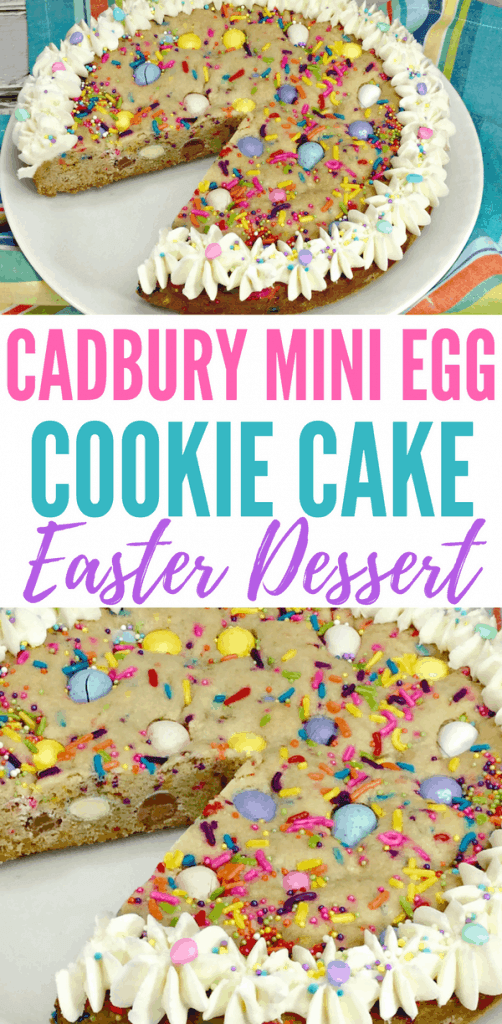 Try this Cadbury Mini Egg Easter Cookie Cake for your family's Easter dessert! It's an easy recipe that all your guests and family will enjoy for Easter dinner, especially if they're fans of Cadbury Mini Eggs!