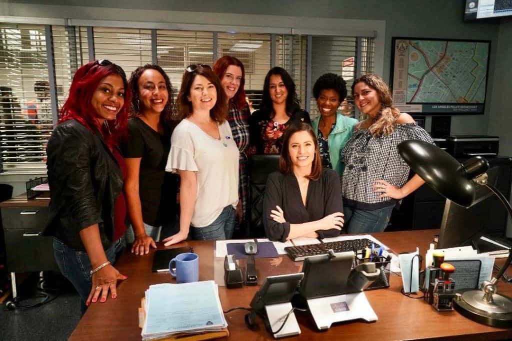 On set of The Rookie Cast and Mercedes Mason