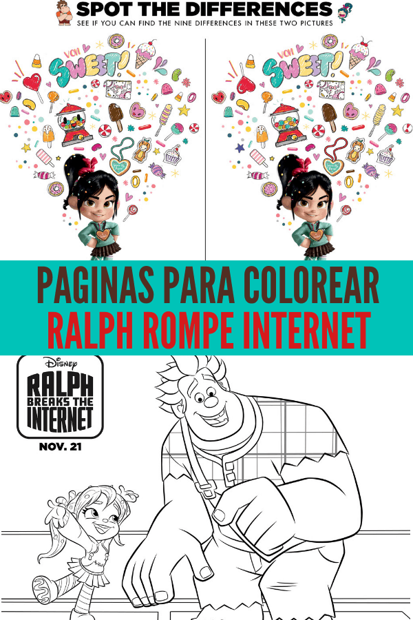 Paginas Para Colorear de Ralph Breaks The Internet y Ralph Rompe Internet. Puedes imprimir estas páginas gratis.