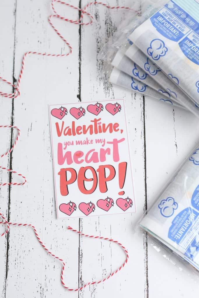 Make your own DIY Valentines cards with kids with free Popcorn Valentine printables.