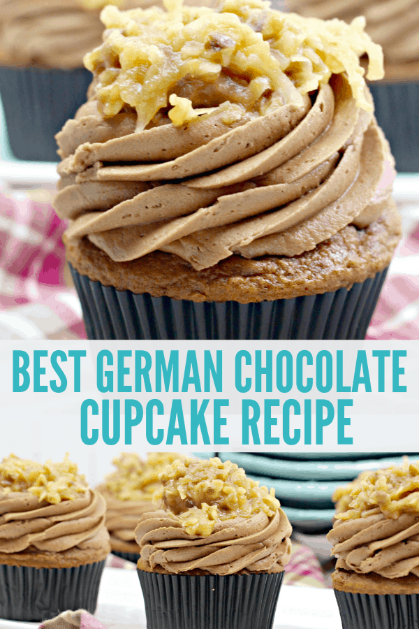 The Best German Chocolate Cupcakes Recipe! This delicious German Chocolate Cupcake recipe will tell you how to make chocolate cake, chocolate frosting, and coconut and pecan topping. Perfect for birthday parties, school fundraisers, and dessert for dinner!