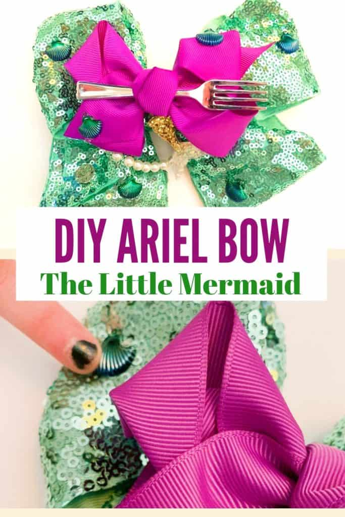 How to make your own DIY Ariel Bow for all you The Little Mermaid fans! This easy Ariel hair bow is quick and inexpensive to make with your kids! Perfect kid craft for any Disney Princess fan!