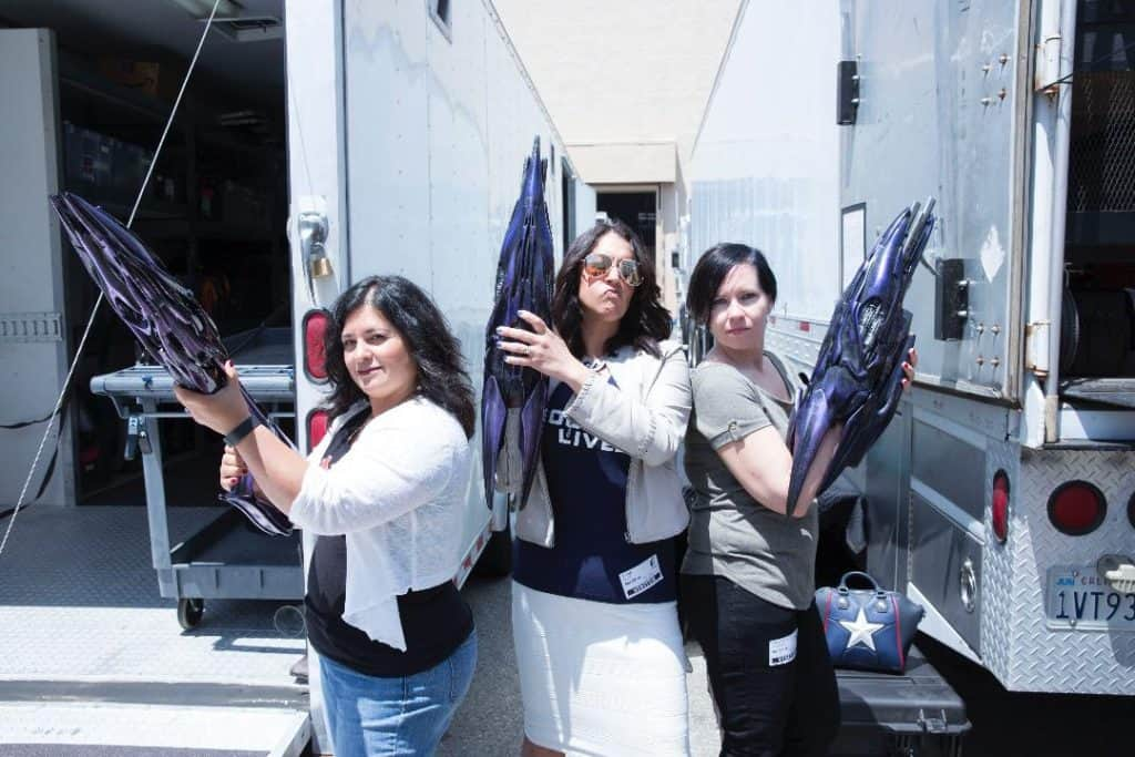 Captain Marvel Set Photo with Blasters