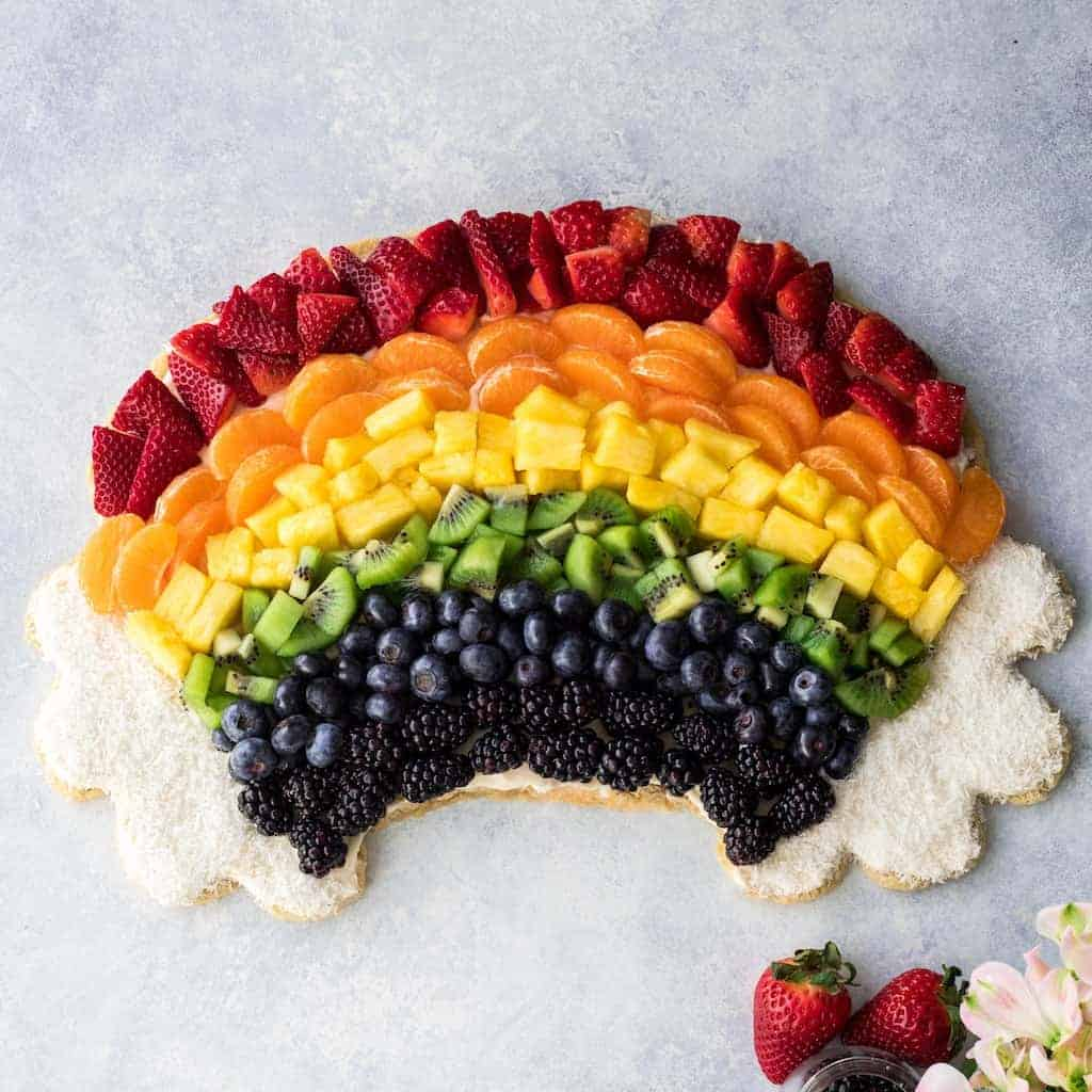 Rainbow Fruit Pizza for St. Patrick's Day