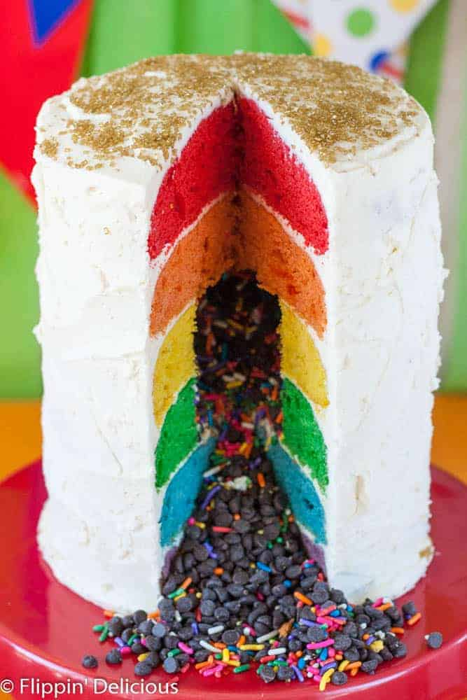 Gluten Free Rainbow Layer Cake from Flippin' Delicious