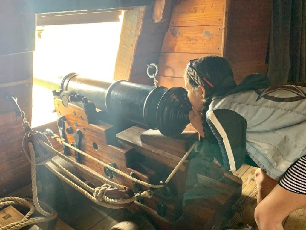 On board a ship at Jamestown for kids