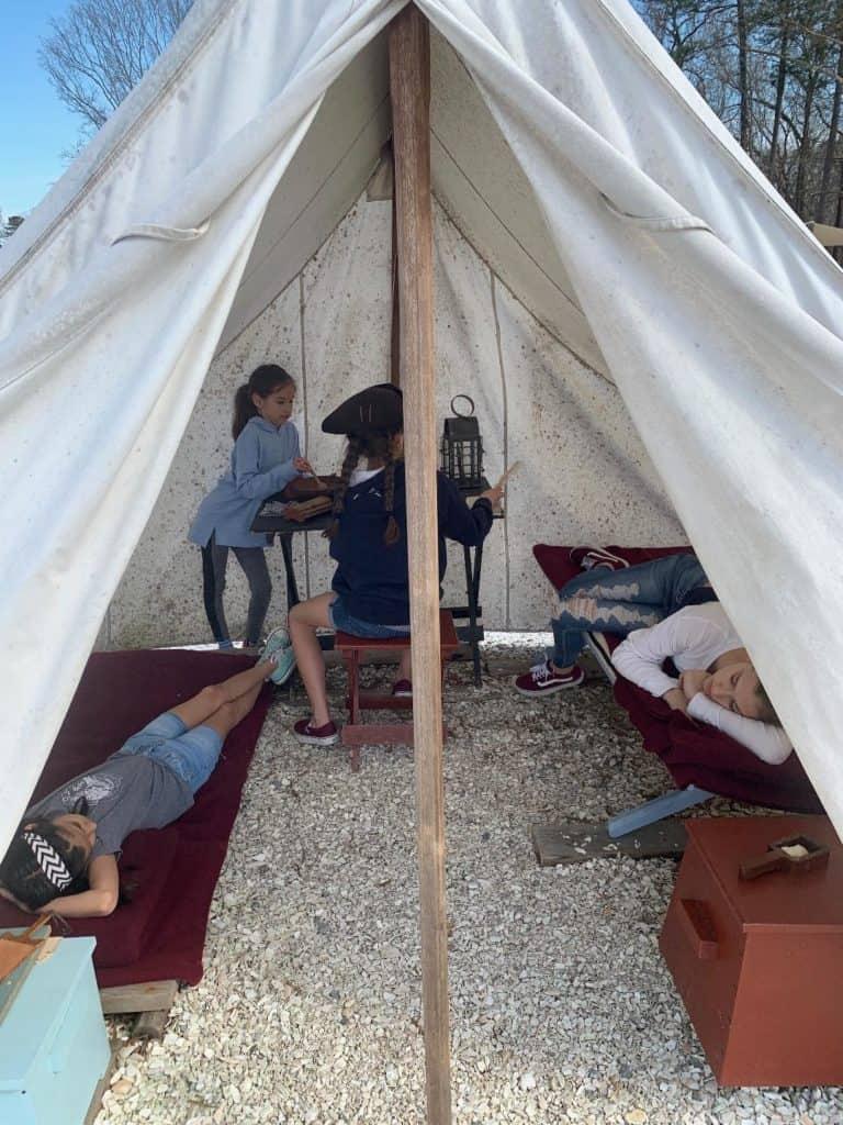 Yorktown Soldier Encampment for kids