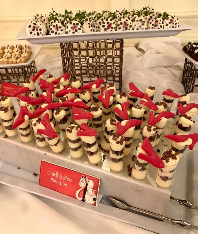 Frosting shots - free dessert at Cruella's Halloween Hideaway