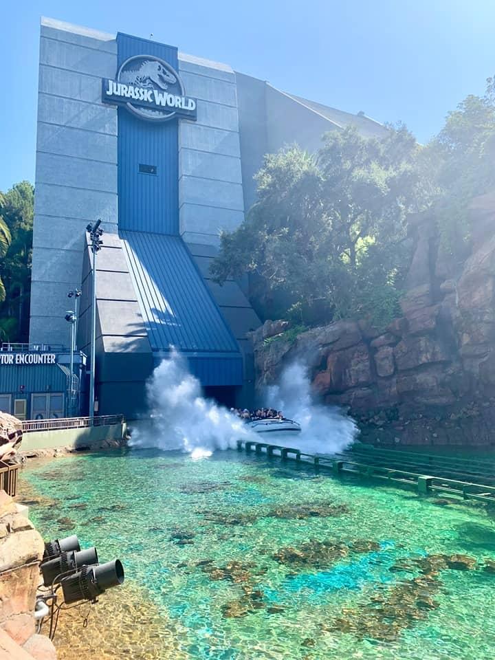 Drop at Jurassic World Ride Universal Studios Hollywood