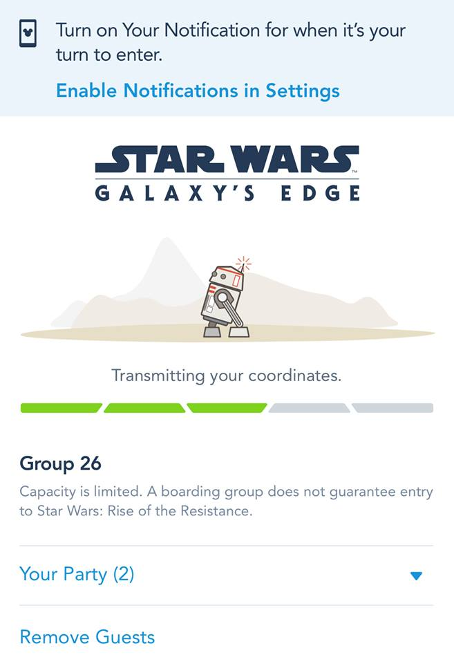 What Virtual Queue looks like for Rise of the Resistance
