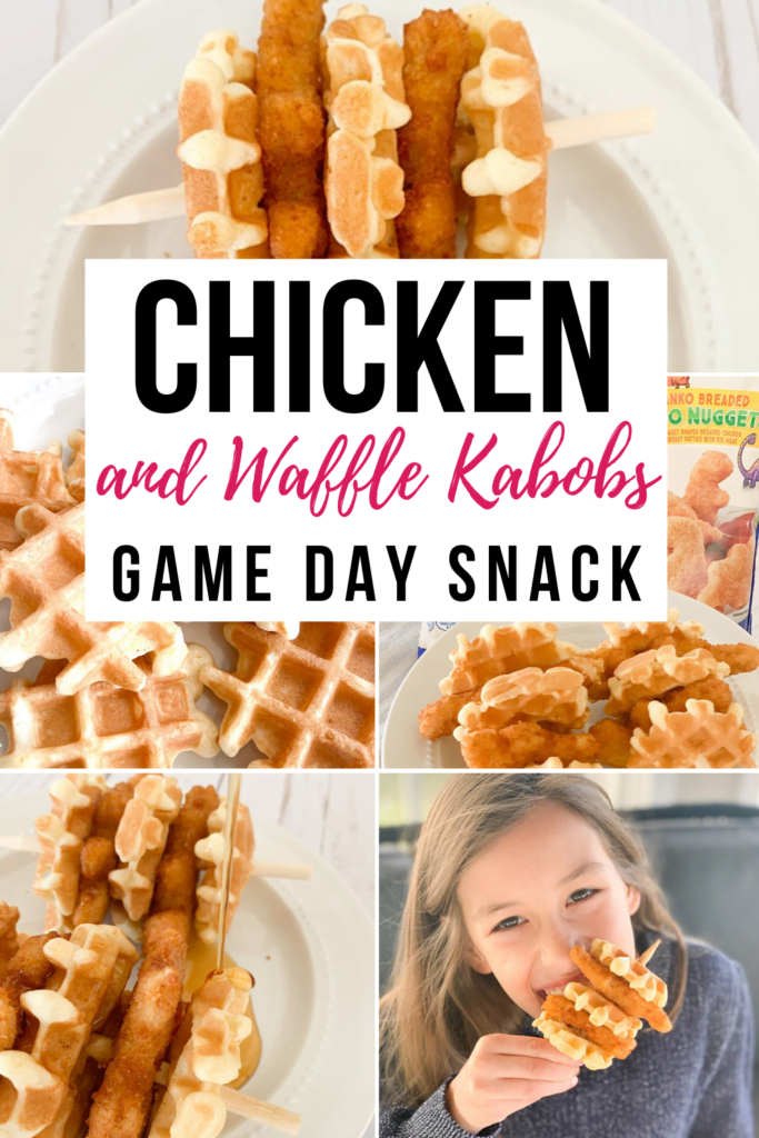 Game Day Snack for kids - Chicken and Waffle Kabobs