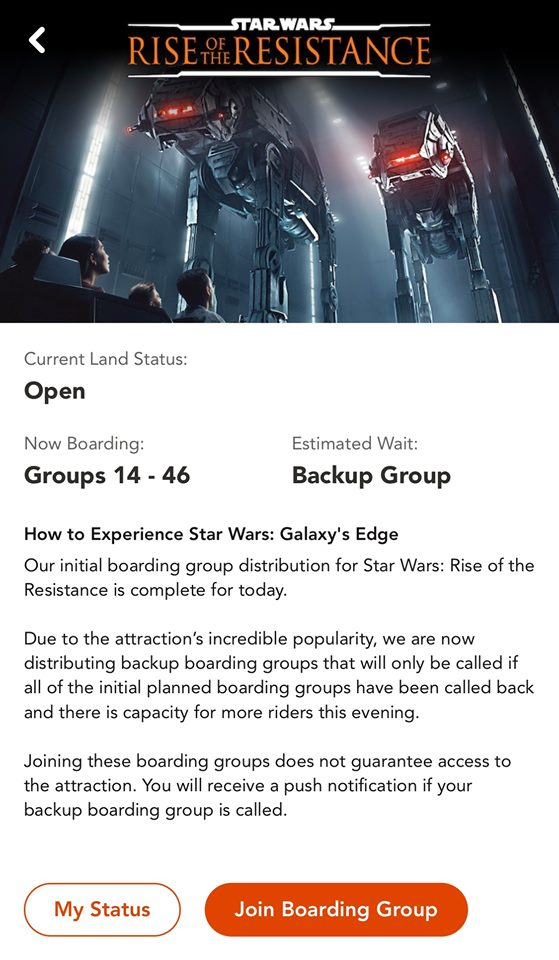 What does Backup Group mean on Rise of the Resistance?