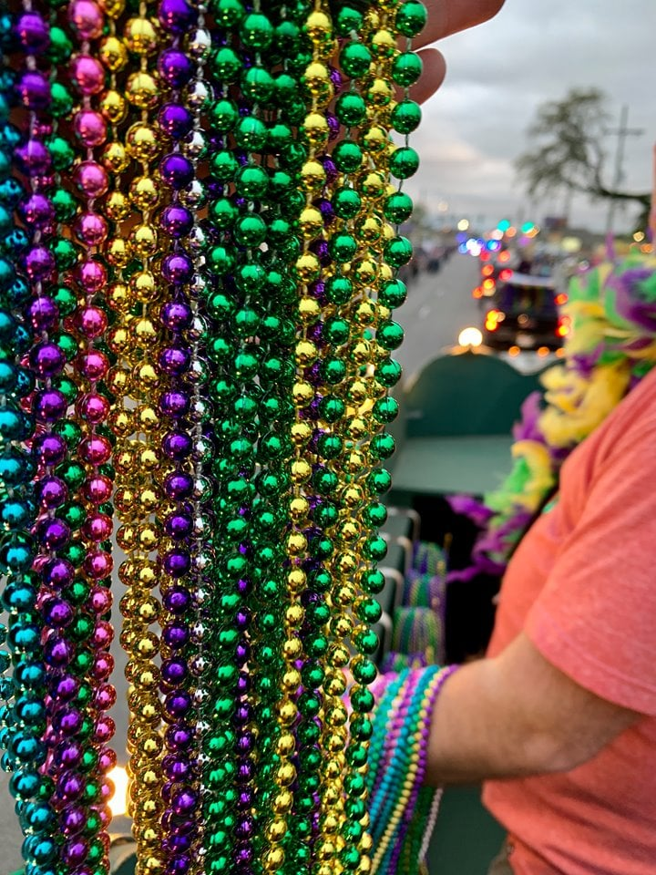 Mardi Gras Beads Southwest Louisiana CVB Float