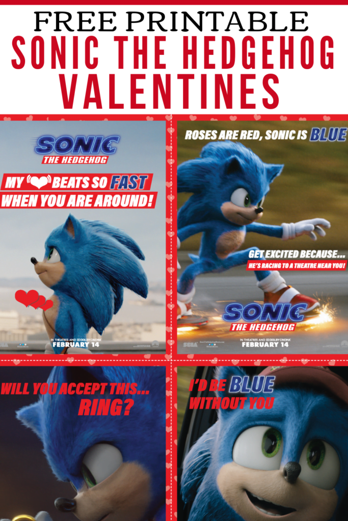 Printable Sonic the Hedgehog Valentines